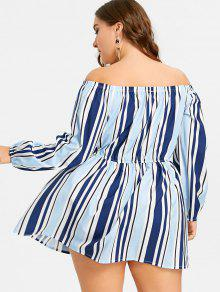 bc5cfe04ef5 27% OFF  2019 Striped Off The Shoulder Plus Size Dress In STRIPE