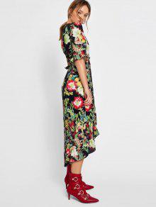 9af1226805c 23% OFF] 2019 Flower Asymmetrical Wrap Maxi Dress In FLORAL | ZAFUL