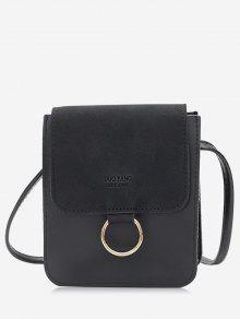 حقيبة كروسبودي مزينة بحلقة معدنية - أسود