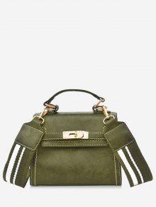 حقيبة كروسبودي بتصميم عتيق بحزام مخطط ومقبض يدوي -