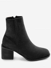 فو الجلد المدبوغ البريدي كتلة كعب أحذية الكاحل - أسود 36