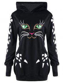زائد الحجم القط هوديي مع آذان - أسود Xl