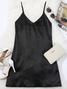 فستان الصيف مصغر كامي حزام السباغيتي - أسود L