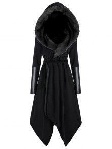 زائد الحجم فو الفراء إدراج معطف مقنعين غير المتماثلة - أسود 5xl