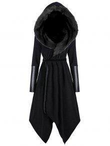 زائد الحجم فو الفراء إدراج معطف مقنعين غير المتماثلة - أسود 4xl