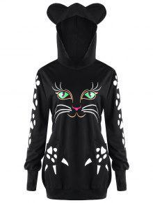زائد الحجم القط هوديي مع آذان - أسود 5xl