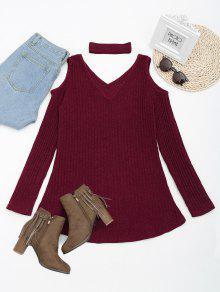 فستان محبوك مصغر باردة الكتف مع قلادة - نبيذ أحمر M