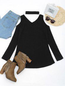 فستان محبوك مصغر باردة الكتف مع قلادة - أسود L