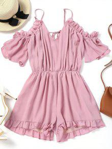 Frilled Cold Shoulder Romper
