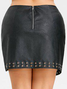 dcff458da 27% OFF] 2019 Studded Plus Size Faux Leather Skirt In BLACK   ZAFUL