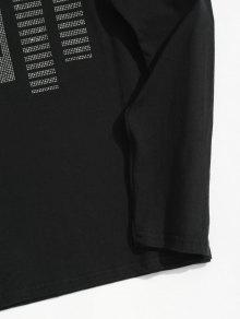 a4d5e164 30% OFF] 2019 Rhinestone Long Sleeve T-shirt In BLACK   ZAFUL