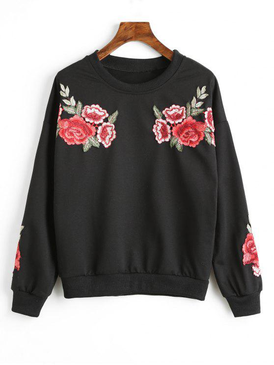 hot Drop Shoulder Floral Appliques Sweatshirt - BLACK L