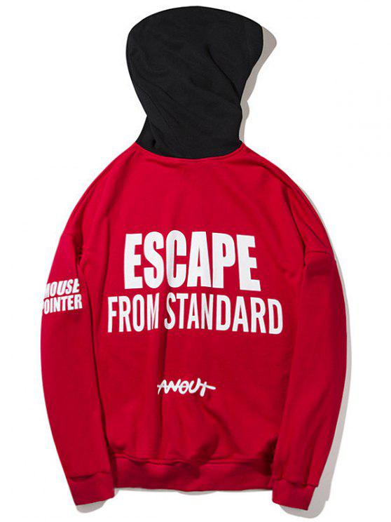 hot Letter Color Block Hoodie - RED L
