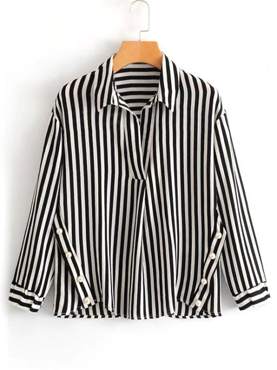 affordable Faux Pearls Stripes Blouse - STRIPE L