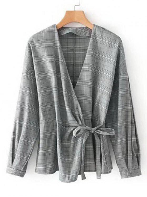 women's Plaid Ruffles Wrap Blouse - CHECKED M