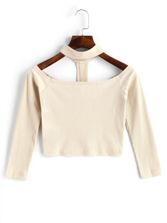outfit Knitted Cropped Choker Top - LIGHT APRICOT M