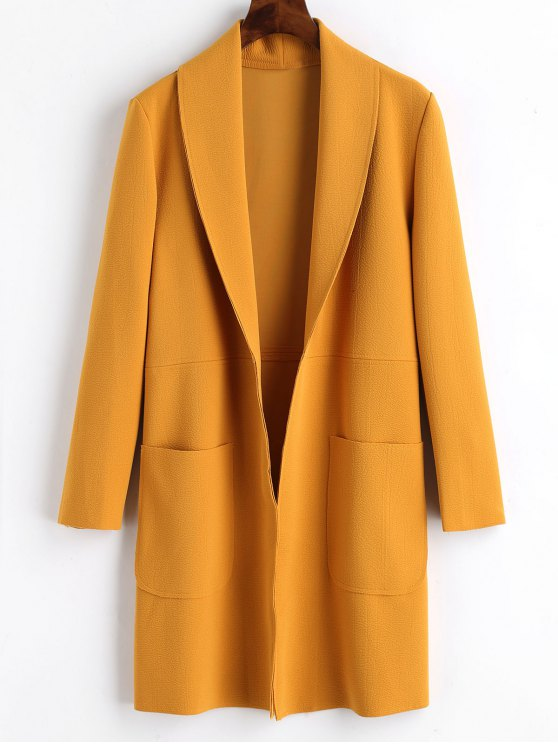 trendy Plain Open Front Coat with Pockets - MUSTARD S