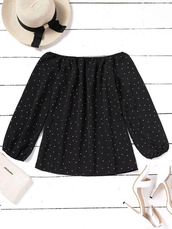 women Elastic Cuffs Polka Dot Off Shoulder Blouse - BLACK S
