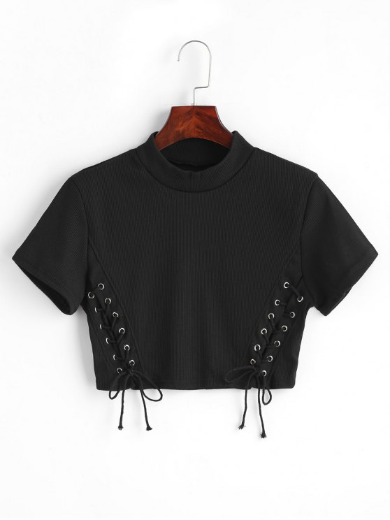 01bcd5e0c9bf04 27% OFF  2019 Cropped Knitted Lace Up Top In BLACK