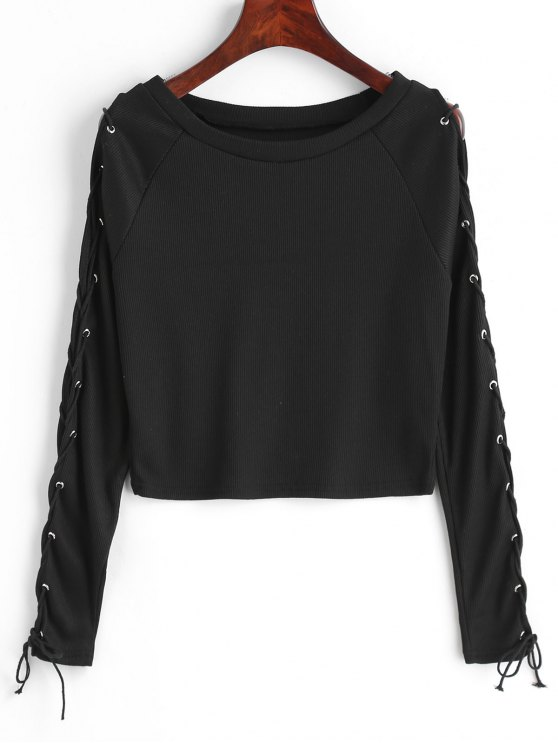 Cropped Ribbed Lace Up Top - Noir L