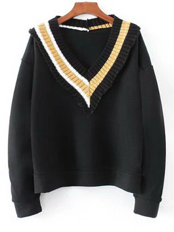 shop Knitted Panel V Neck Sweatshirt - BLACK L