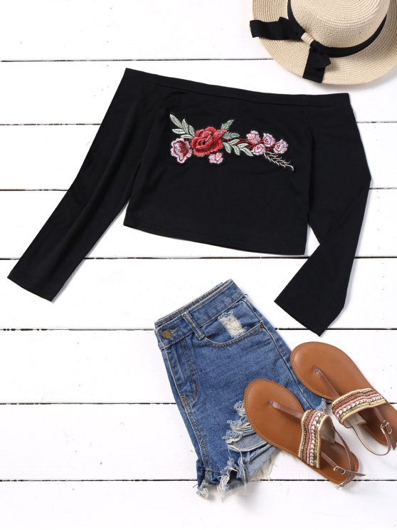 latest Embroidered Patches Cropped Off Shoulder Top - BLACK M
