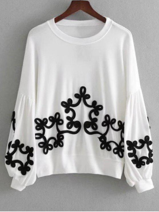 affordable Lantern Sleeve Contrast Applique Sweatshirt - WHITE L