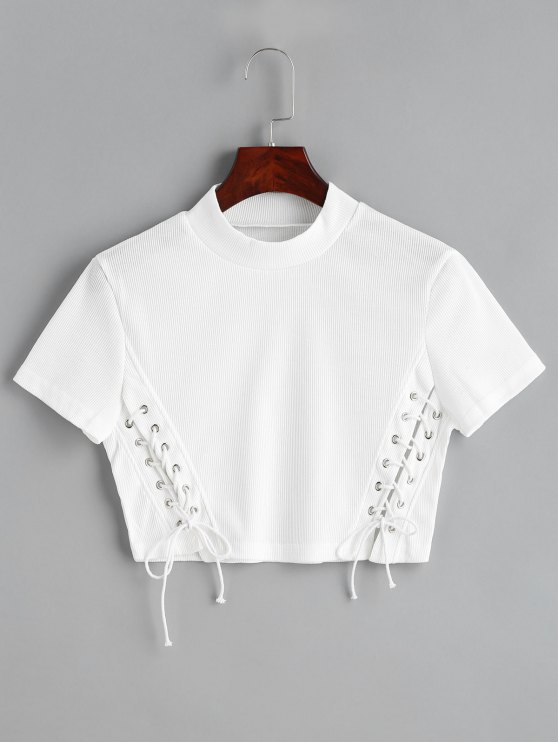 online Cropped Knitted Lace Up Top - WHITE M