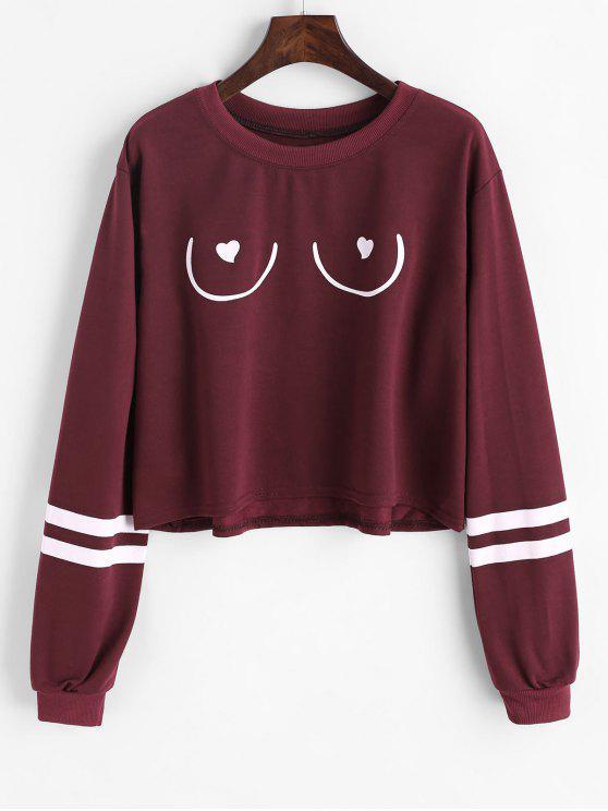 affordable Striped Graphic Sweatshirt - DARK RED S