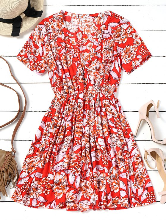 women Short Sleeve Half Buttoned Floral Mini Dress - RED S