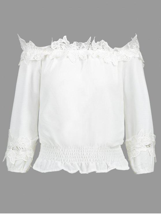 fancy Off Shoulder Smocked Lace Panel Blouse - WHITE L