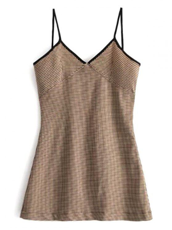 sale Contrast Trim Houndstooth Mini Dress - BROWN L