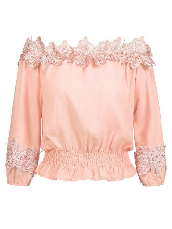 outfits Off Shoulder Smocked Lace Panel Blouse - ORANGEPINK S
