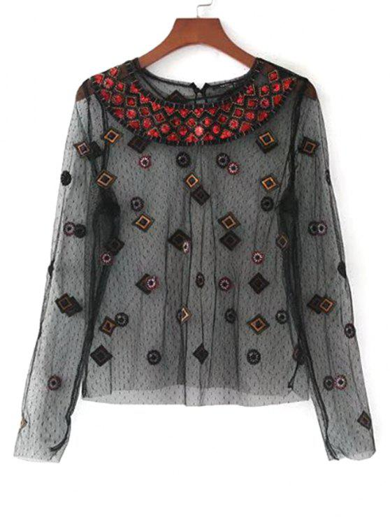 fancy See Thru Embroidered Applique Blouse - BLACK L