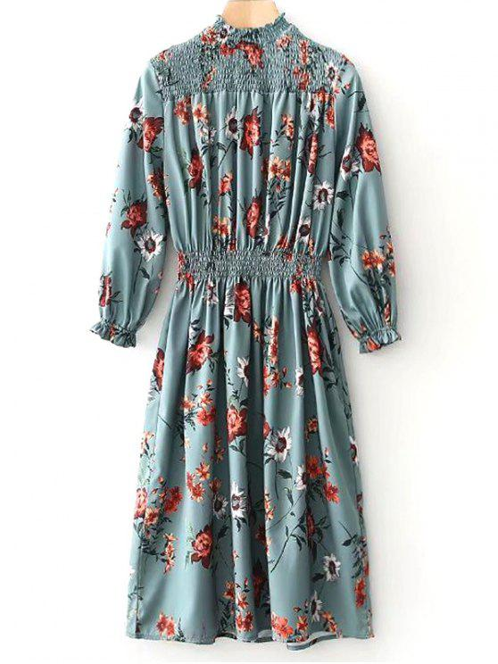 sale Smocked Panel Long Sleeve Floral Midi Dress - PEA GREEN L