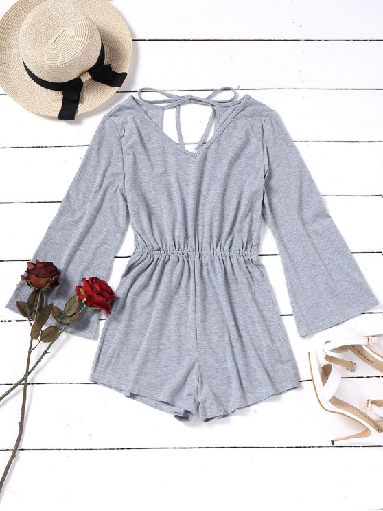 ladies V Neck Open Back Tassels Romper - GRAY M