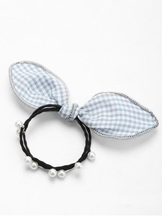 online Artificial Pearl Bows Elastic Hair Band - GRAY