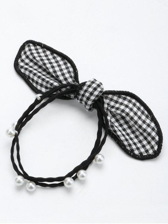 outfit Artificial Pearl Bows Elastic Hair Band - BLACK
