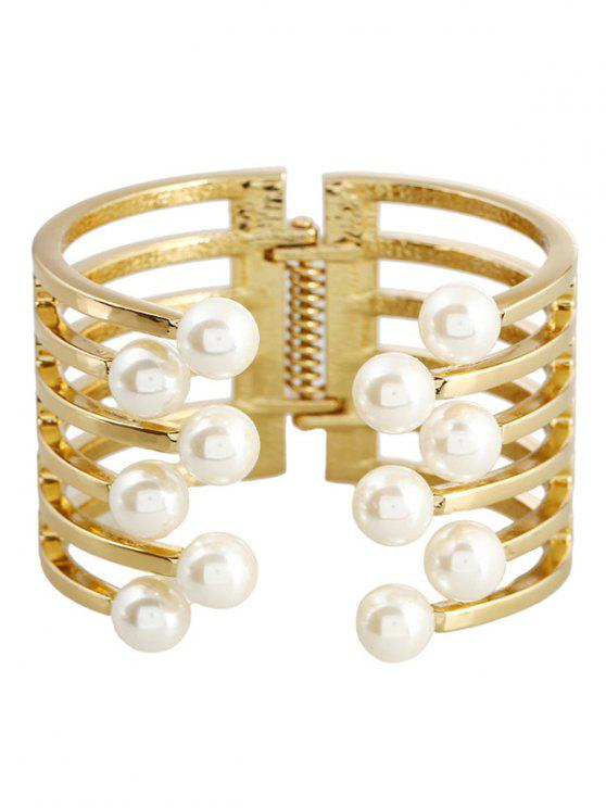 shop Alloy Faux Pearl Cuff Bracelet - GOLDEN