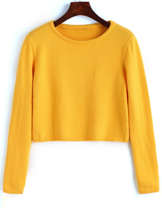 Pullover Plain Cropped Sweater YELLOW: Sweaters M | ZAFUL