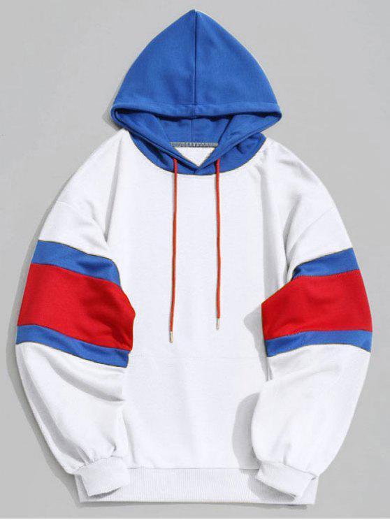 Abbigliamento da uomo con cappuccio e cappuccio tascabile color block - Bianco S
