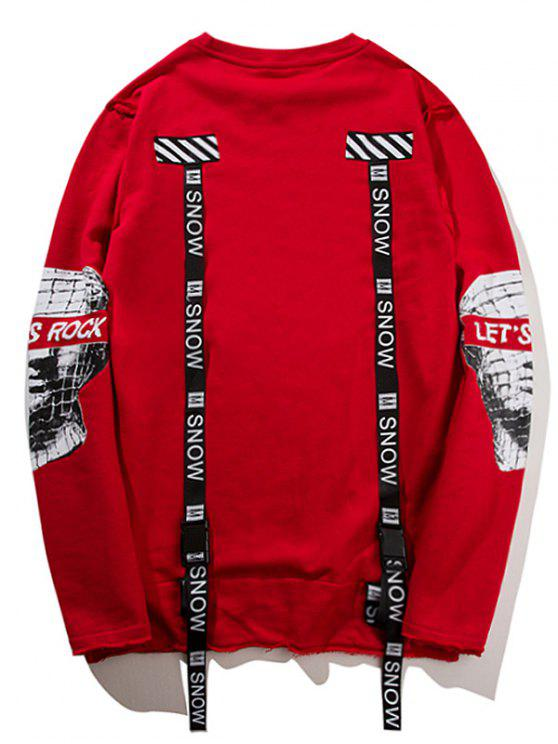 High Ribbon Graphic Low Sweatshirt Red L rrq6dUE