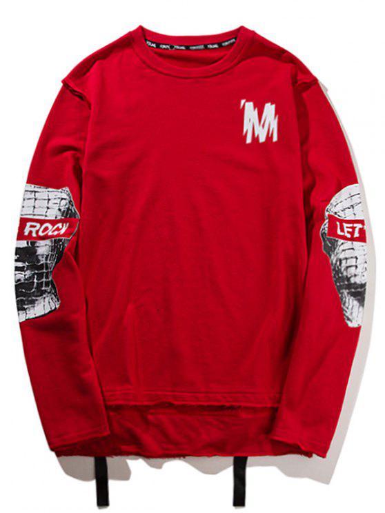 chic Ribbon High Low Graphic Sweatshirt - RED M