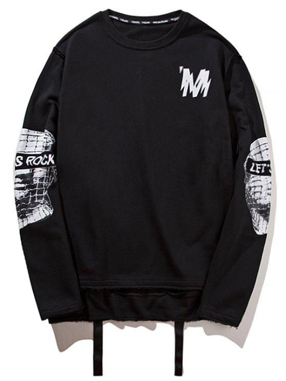 affordable Ribbon High Low Graphic Sweatshirt - BLACK M