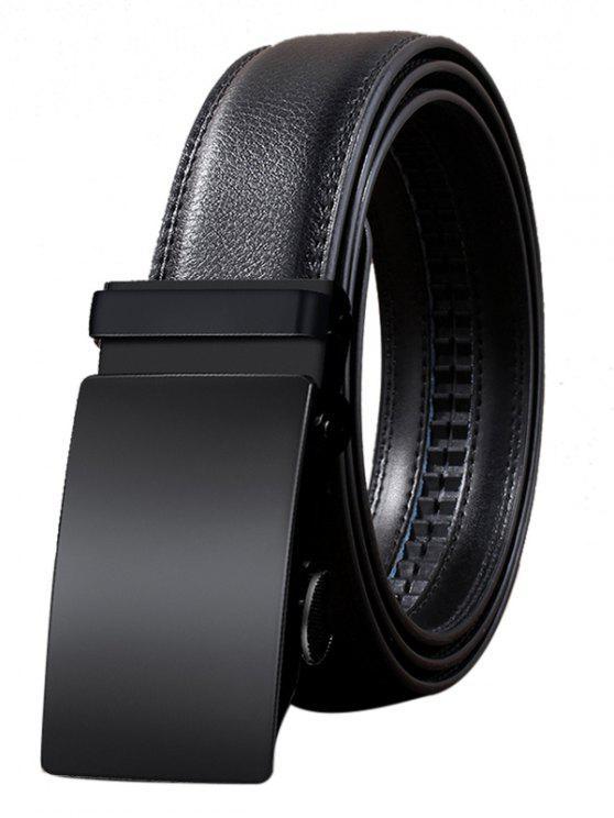 Cinturón de cuero artificial Vintage hebilla automática - Negro 110CM