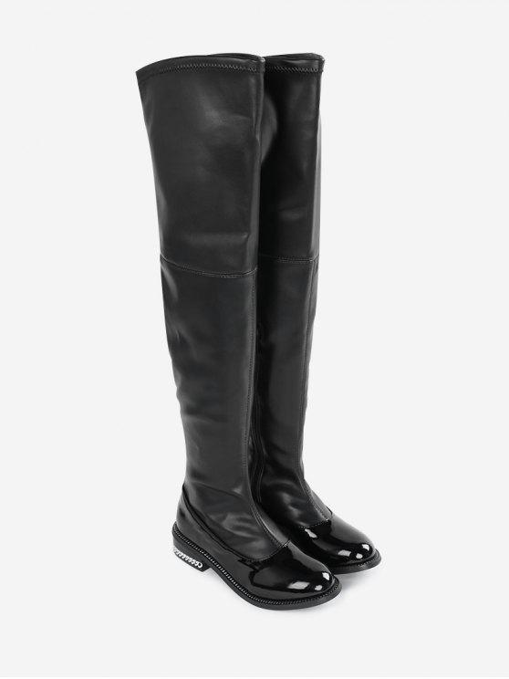 669147ad0e6 Curb Chain Low Heel Over the Knee Boots BLACK