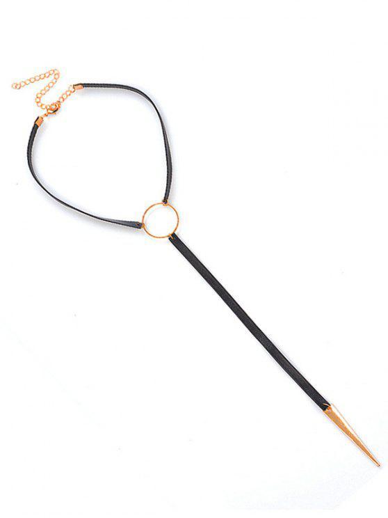 Runder Kreis Leder Choker Halskette - Schwarz