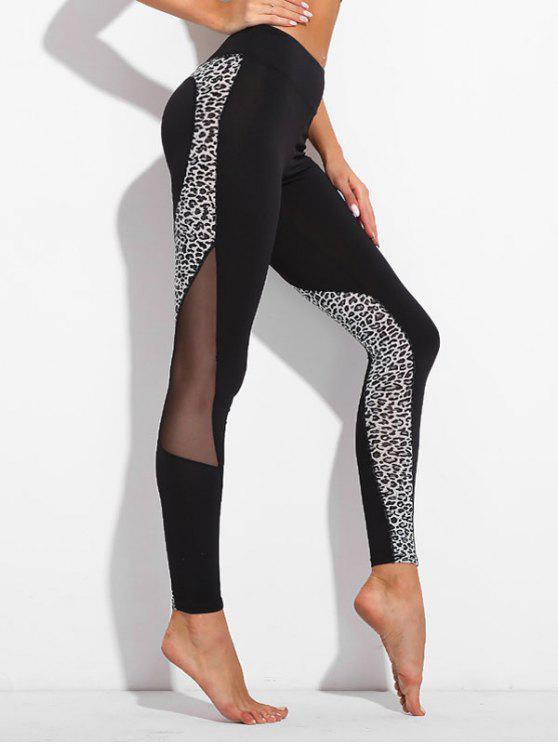 Leggings con pannello in maglia di leopardo - Nero M