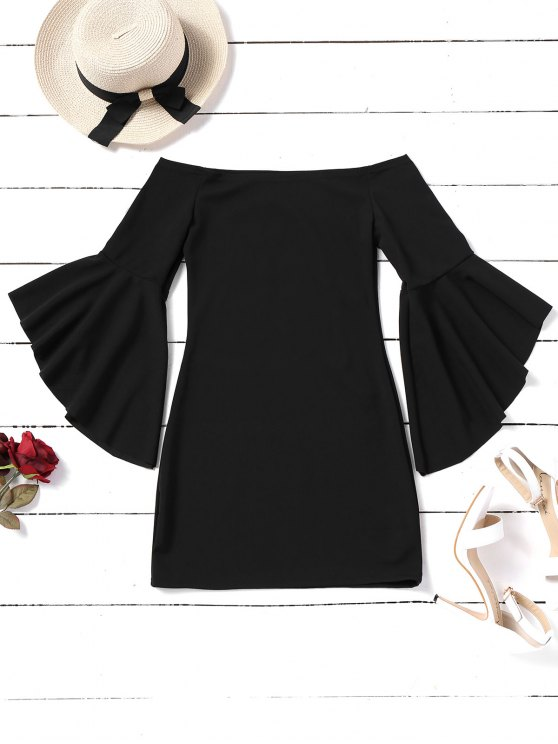 ladies Flare Sleeve Off Shoulder Mini Dress - BLACK XL