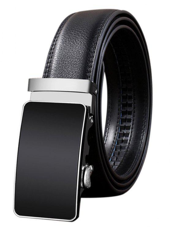 fancy Metal Polished Buckle Decoration Faux Leather Belt - BLACK 130CM
